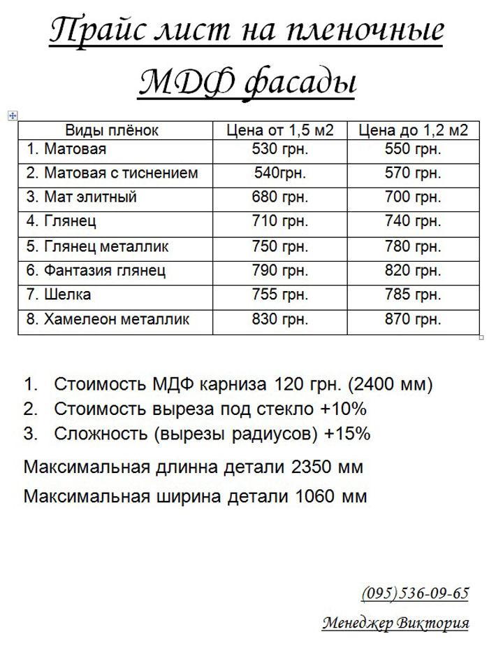 Прайс лист на пленочные МДФ фасады